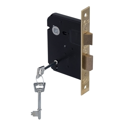 Picture of 3 Lever Powder Coated Upright Lock - Brass