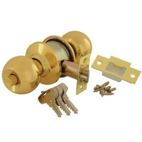 40CY3-5866-0201 - Round Cylindrical Knobset - Polished Brass