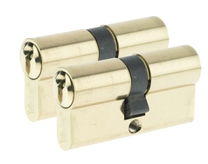 5523232000202 - 64mm Euro Profile Cylinder - Brass (Duo Pack)