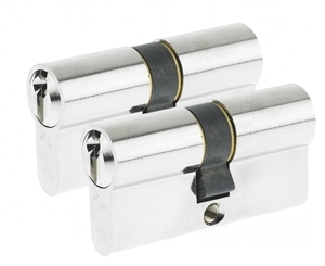 64mm Euro Profile Cylinder - Satin Nickel (Duo Pack)