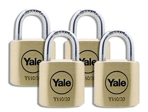 Y110/20/111/4 - 20mm Brass Padlock Quad KA
