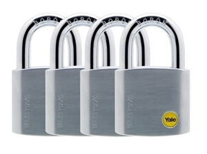 Y120/50/127/4 - 50mm Brass Satin Chrome Padlock Quad KA