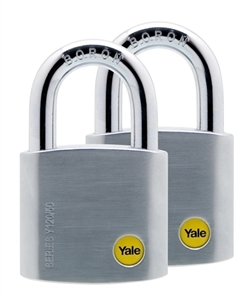 Y120/50/127/2 - 50mm Brass Satin Chrome Padlock Duo KA