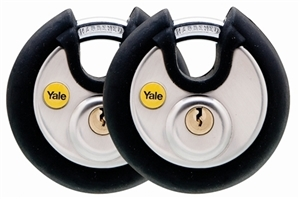 Y130/70/116/2 - 70mm Black Cover Discus Padlock Duo KA